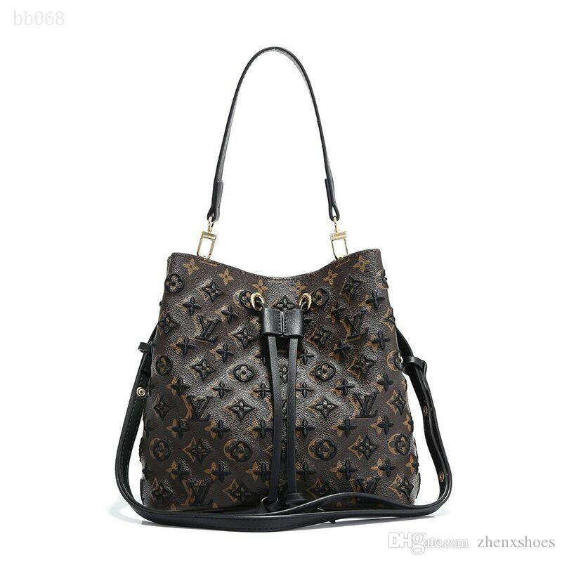 Einfache Art und Weise Handtaschen Kordelzug Damen tonnenförmige Tasche Bucket Bag Umhängetasche Schultertasche Mitte Größe Tragbarer Checkered Für Girl Classic