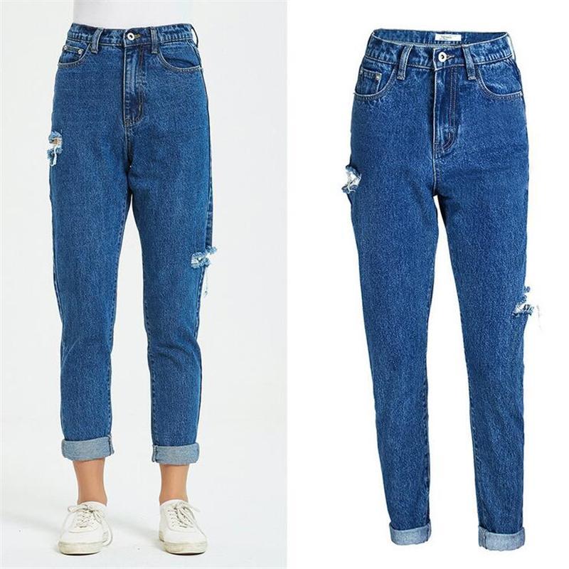 simple, européenne américain trou taille haute Jeans Ripped Women`s Grand pantalon en coton taille loisirs bureau Pantalon en denim pour les femmes