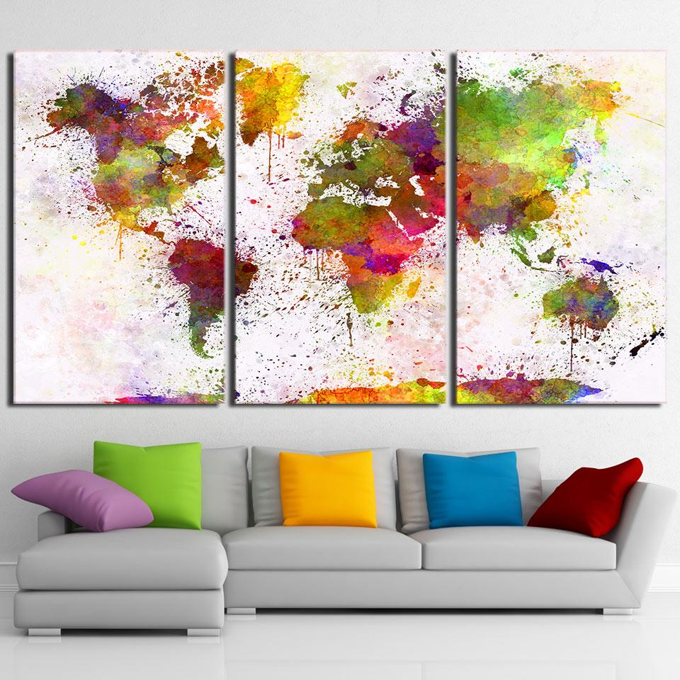 Home Decor HD Prints Canvas Living Room Abstract Pictures 3 Pieces Color World Map Paintings Wall Art Modular Posters Framework