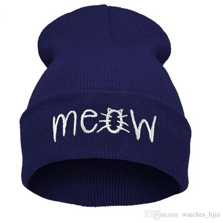 2019 new Hot style MEOW letters cap sweater hat hip hop cap hip hop knit hat LZ127