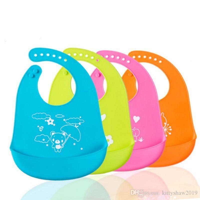 سيليكون بيبي المرايل ماء تغذية الرضع اللعاب منشفة حديثي الولادة الكرتون مآزر قابل للتعديل تجش