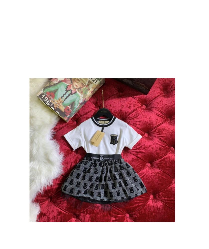 Menina do verão coreana de manga curta T-shirt saia de malha de alta qualidade impressa carta padrão de duas peças saia 030912