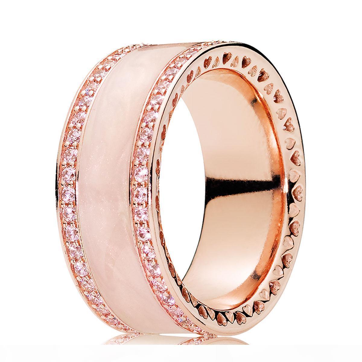 Oro de 18 quilates Rose plateado sobre plata esterlina Crema de esmalte de joyería Borrar CZ Anillo Fit Pandora encanto de la manera del anillo de compromiso de los amantes de la boda 925