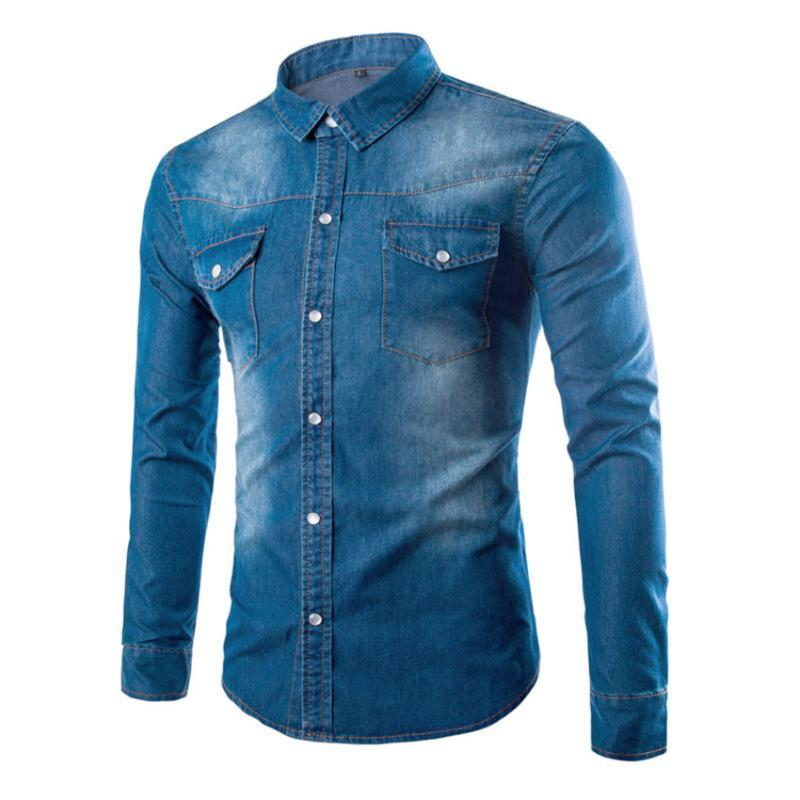 MAGGIE'S WALKER Spring New European and American Style Large Size Casual Washed Pockets Slim Men's Long-sleeved Shirt