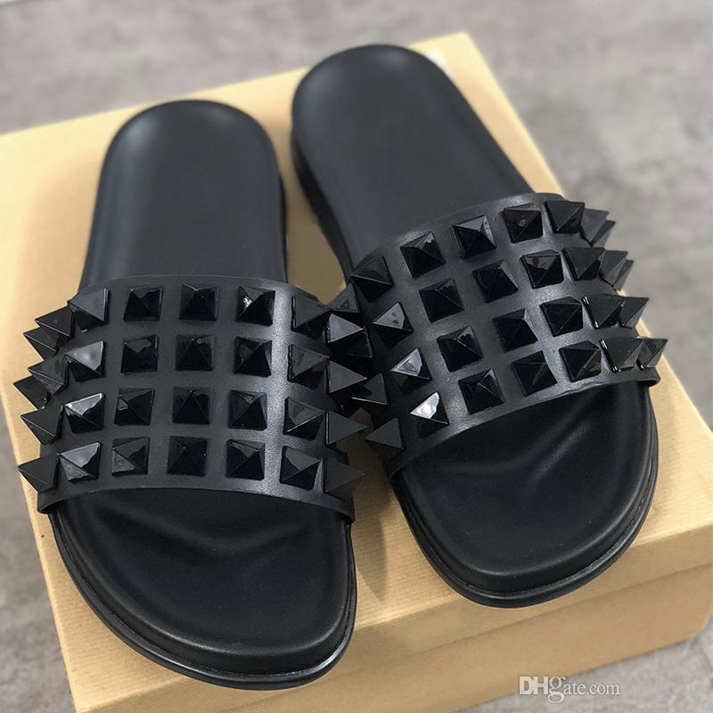 Red Bottom Mens Flip Flops Spikes Sandals Black Genuine Leather Slippers Beach Shoes Sliders Sandals 9 colors size US 5-11