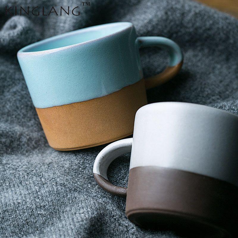 1pc KINGLANG Estilo japonés Cerámica Retro Taza de agua Taza de leche Taza de café