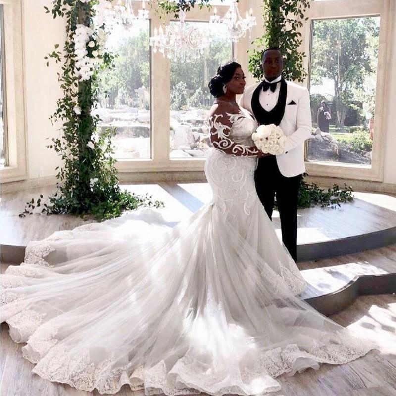 South African Plus Size Wedding Dresses With Sheer Neck Lace Illusion Long Sleeves Bridal Gowns vestido de novia Mermaid Wedding Dress