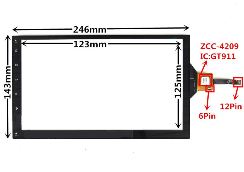 10.1 inch GT911 ZCC-4209 Capacitive Touch Digitizer for Chevrolet Car DVD GPS navigation multimedia Touch screen panel Glass