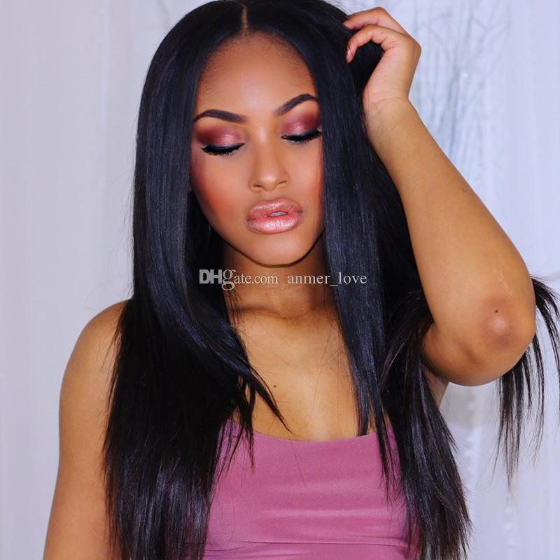 Бразильские парики человеческих волос 100% ручной связали полный парик шнурка прямой средний коричневый кружева кружева перед парики с Выщелоченными узлами