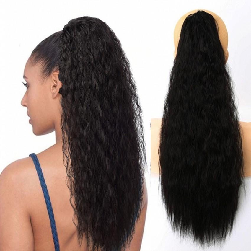 25inch, 65CM Mulher Kinky Curly Ponytail extensões Garra Clip-em Pony Cauda extensão do cabelo resistente ao calor Fluffy milho cabelo Pieces peruca