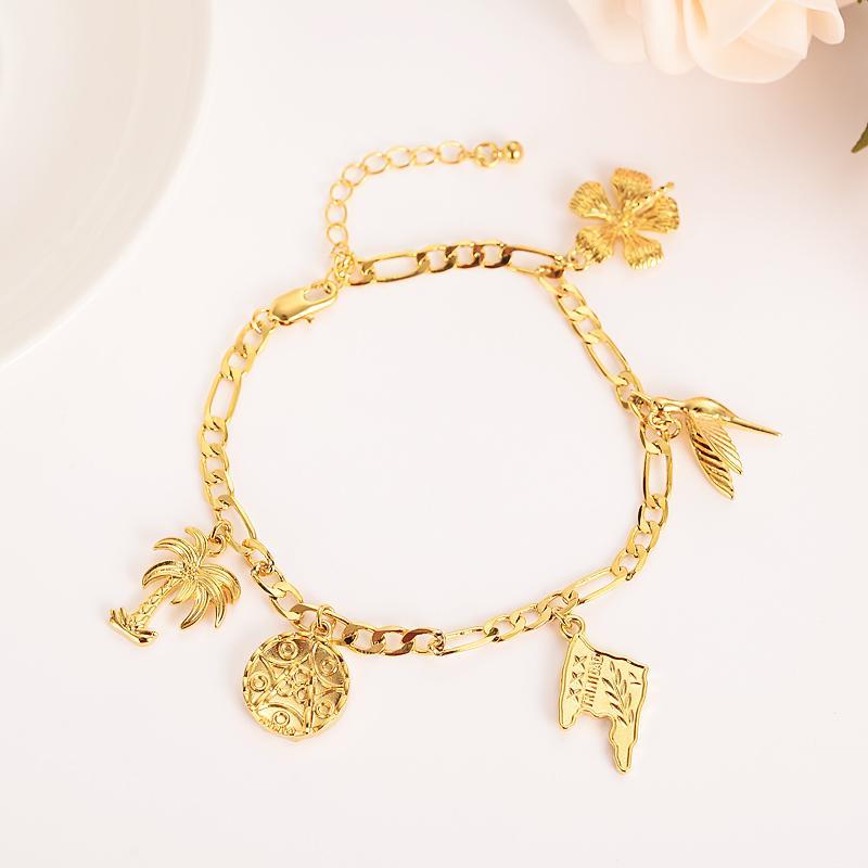 gold bird flower tobago flag pendant Charm Bangle Bracelets for Women girls gifts Jewelry wedding bridal link handchain anklet
