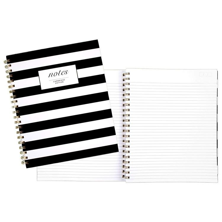 تخصيص أزياء سوداء والأعمال شريط أبيض غلاف دفتر دوامة