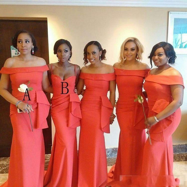 2020 Afrika Mercan Nedime Elbiseleri Portre Boyun Dantelli Ruffles Artı Boyutu Düğün Konuk Önlük Saten Denizkızı Honor Elbise Hizmetçi