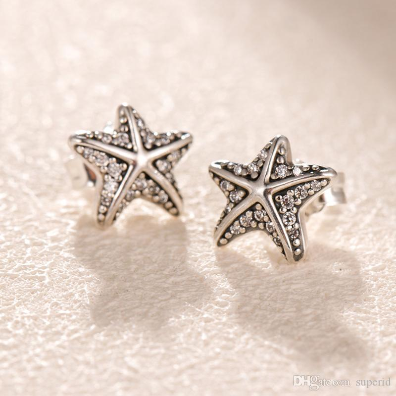 NEW Authentic 925 Sterling Silver starfish Earrings set Original box for Pandora Fashion Jewelry CZ Diamond Stud Earring for Women