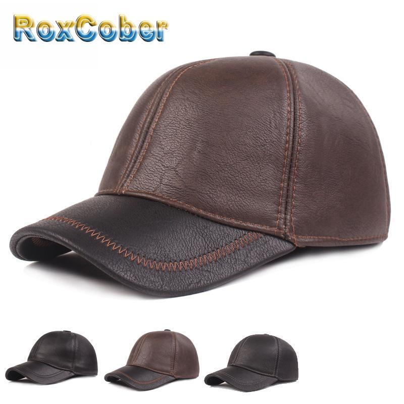 RoxCober осень-зима Новая мода шапки высокого качества Кожа PU мужские Бейсболки ушанке Snapback Sport Casual Gorra