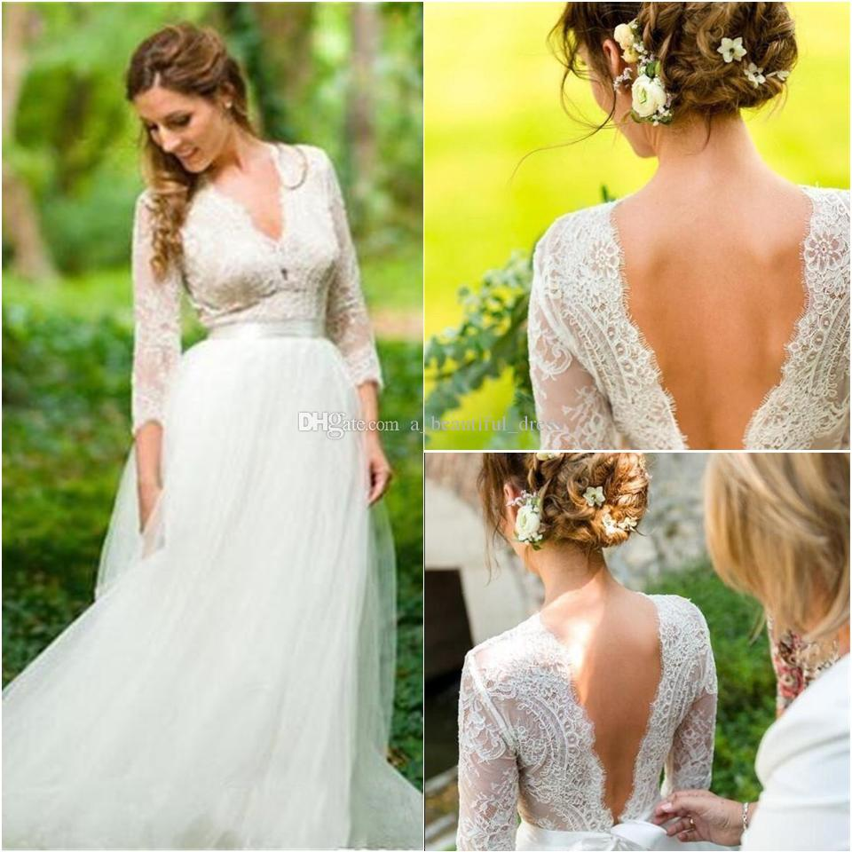 Empire Waist V-neck Backless Lace Fairy Summer Holiday Beach Bohemian Bridal Wedding Gown Country A-Line Wedding Dresses with Long Sleeve