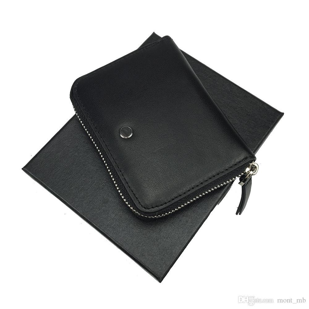 Nuevo bolso de cuero negro con cremallera para hombre de lujo caliente ranura para múltiples tarjetas ID billetera comercial tarjeta de crédito regalo envío gratis con caja