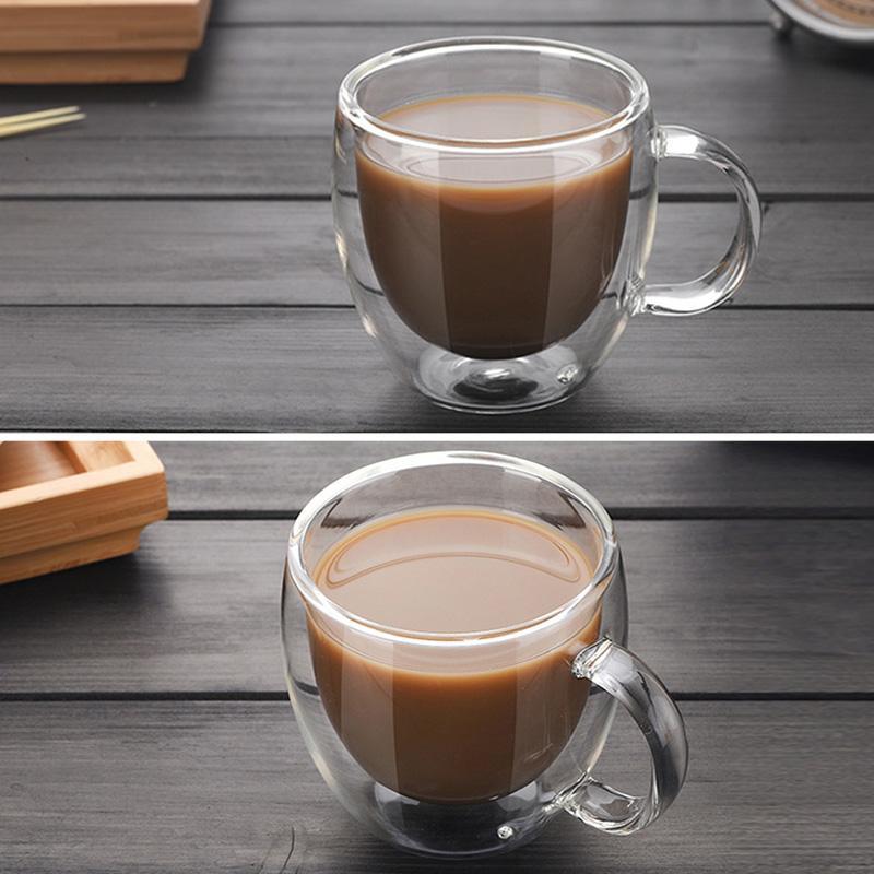 شفافة DRINKWARE فناجين القهوة مجموعة أكواب البيرة شرب كأس زجاج مكتب القدح مزدوجة أكواب أسلوب بسيط