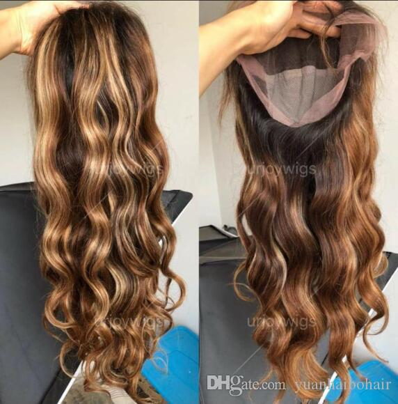 Celebrity Lace Front Wig Two Tone Ombre Highlight Loose Wave 10A Chinese Remy Human Hair Full Lace Wigs for Black Woman Express Shipping