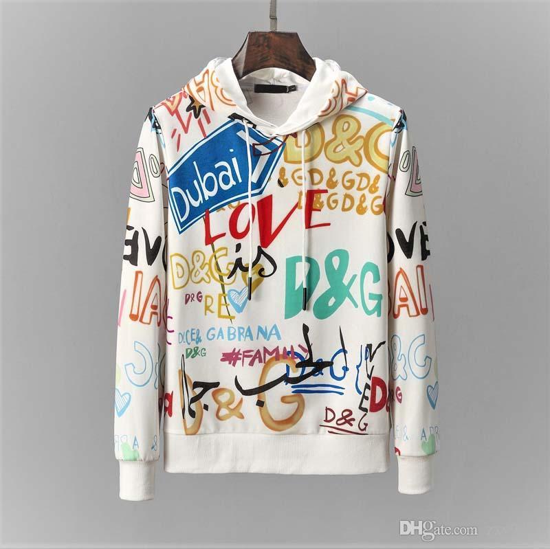 2019 New Casual Hoodie Pullovers Hoodies Men Sport Wear Solid Printing Mens Crewneck Sweatshirt For Man clothing M-3XL
