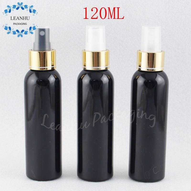 Gold ile 120ML Siyah Yuvarlak Omuz Plastik Şişe Pompası, 120cc Makyaj Alt şişeleme, Toner / Su Packaging Şişe Sprey