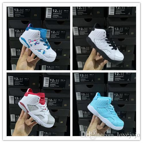 2019 Nouveau Rabais Enfants 6 bébés Chaussures de basket-ball unc enfant noir rouge or 6s Boys Sports formateurs bas enfants Sneakers Taille 22-35