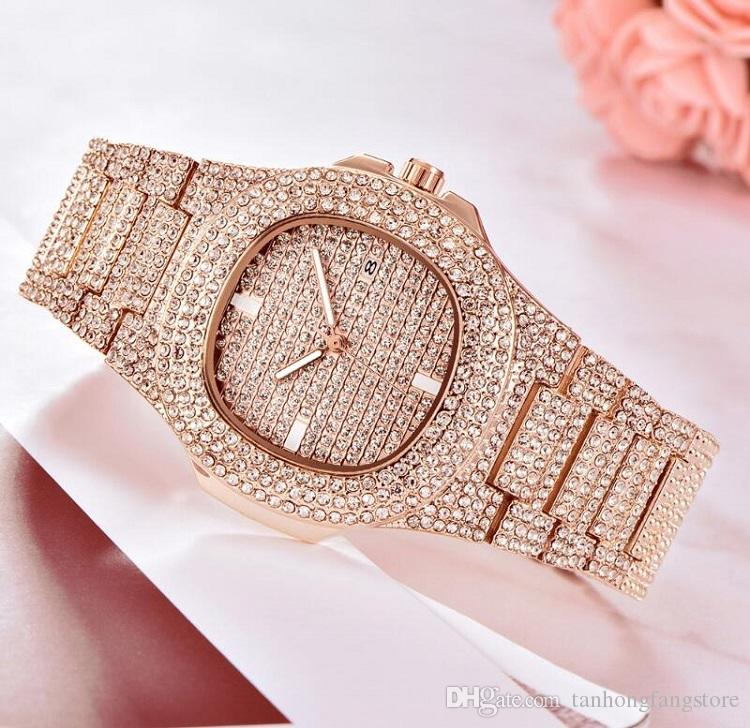 남성용 시계 인기 브랜드 럭셔리 시계 남성용 골드 다이아몬드 시계 스퀘어 쿼츠 방수 시계 Relogio Masculino