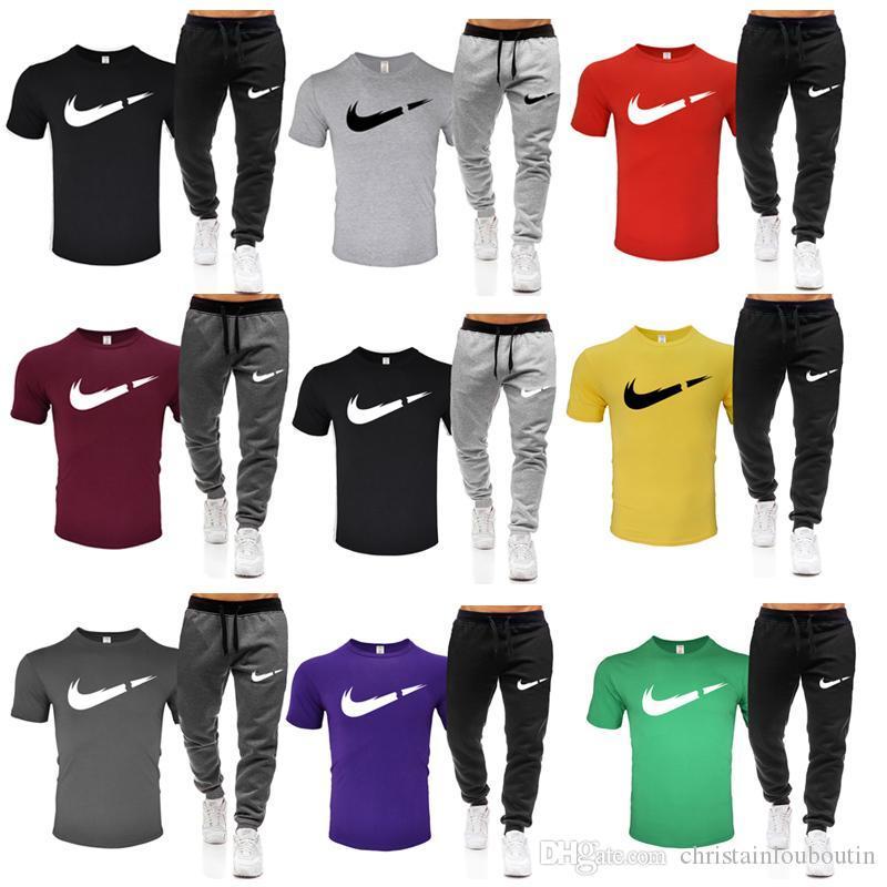 الرجال 2PCS رياضية T قميص + بانت لونغ البلوز مجموعات ملابس بذلات عادية رجالي موجز عارضة مقنع بلوزات قطعتين