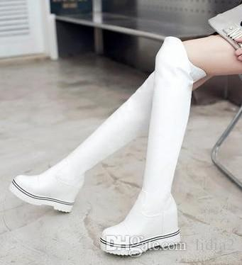 New Arrival Hot Sale Specials Super Fashion Sexy Plus Velvet Trend Leather Increased Pink Snow Knight Platform Large Size Knee Boots EU33-43