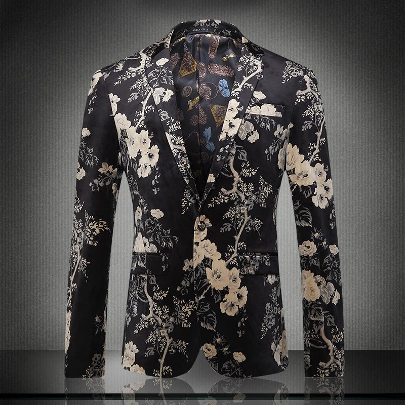 Tamanho asiático 2019 Novo Design de Moda Homens Terno jaqueta flor Impresso Blaze Homme Casamento Masculino Melhor Blazer dos homens Plus