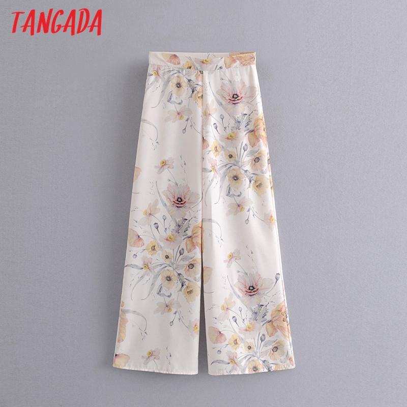 mulheres Tangada impressão floral ampla pernas longas calças calças estilo vintage calça zipper senhora pantalon 3P2