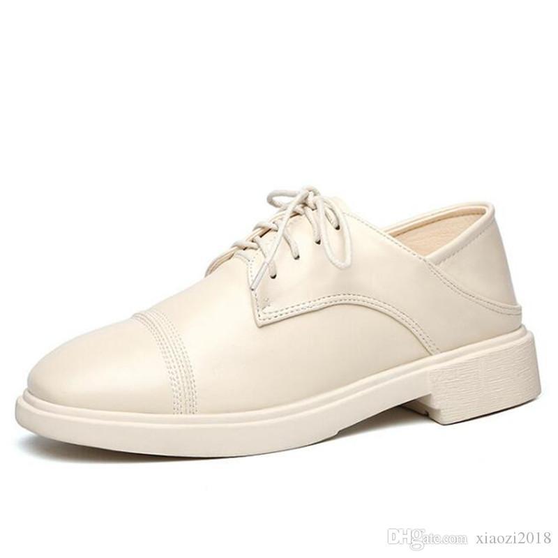 Famous 2020 Neu Top Kuhfell Mode Low-Heel-Schuh Frauen-Frühlings-Schuh-echte Leder-Schuhe Soft Comfort Anti-Rutsch-Freizeitschuh