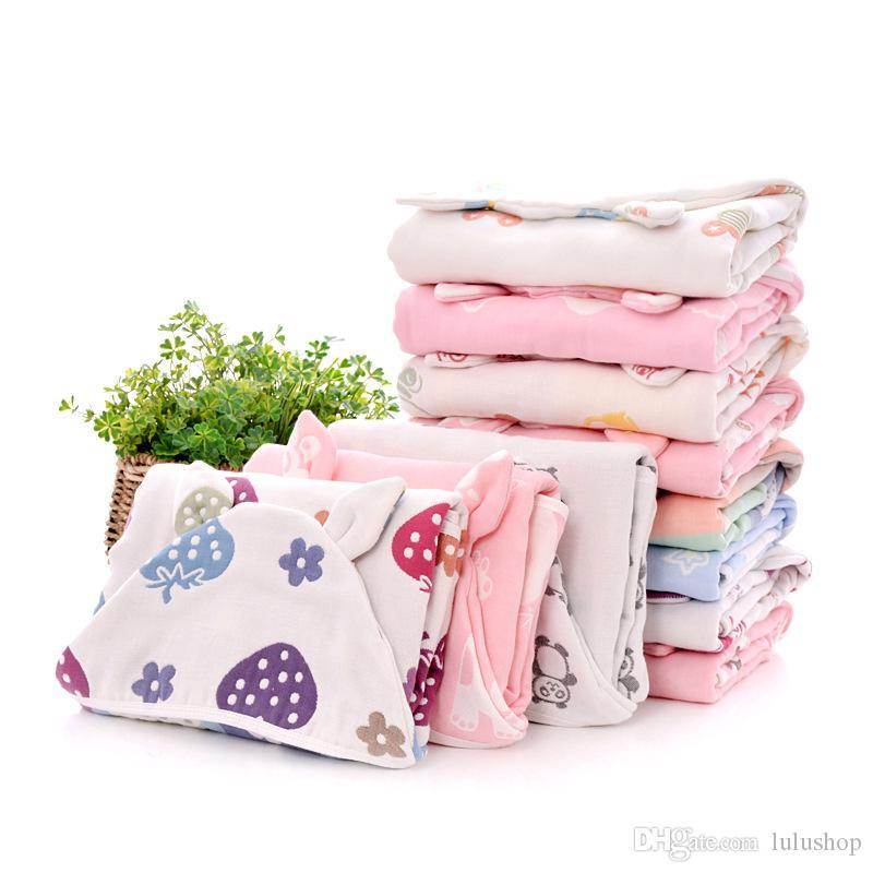 Kids Towel Cloak Cotton Bathrobe 6 Layers Gauze Baby Wash Cloth Cute Boys Girls Hooded Bath Towel toalha de banho Drop Shipping
