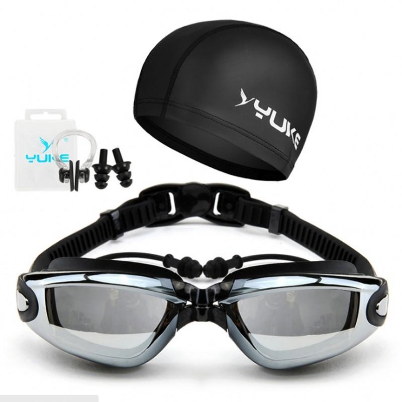Swim Goggles Anti Fog with Hat Ear Plug Nose Clip Hd Waterproof Swim Glasses Professional Sport Eyewear Suit Men and Women