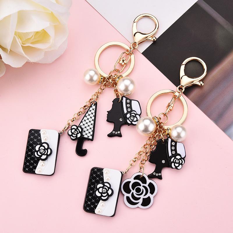 모조 다이아몬드 열쇠 고리 동백 꽃 가방 매력 홀더 열쇠 고리 보석 패션 진주 여자의 머리카락 열쇠 고리 소녀를위한 액세서리