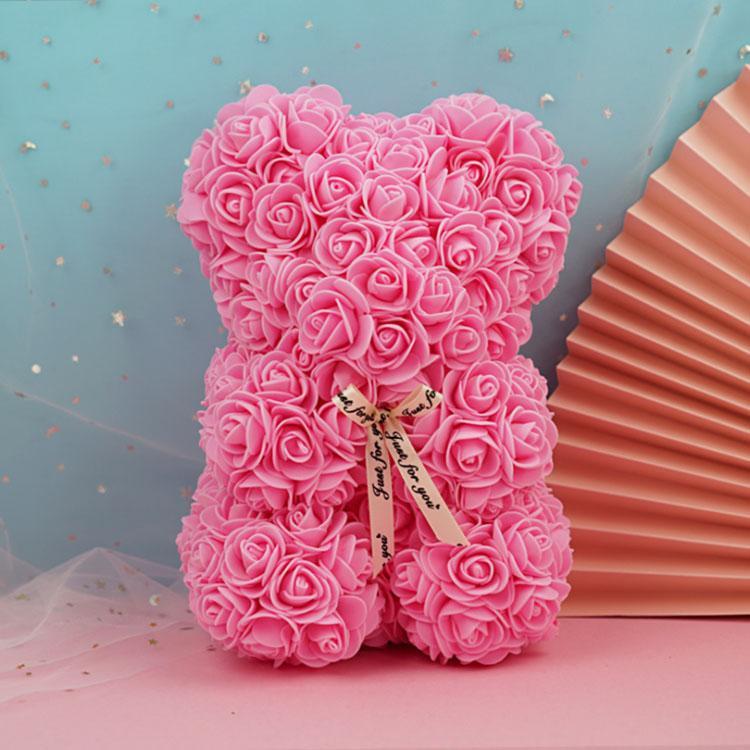 25 cm 17 Renkler Yaratıcı Teddy Bear Çiçekler PE Köpük Gül Çiçek Parti Düğün Dekorasyon Romantik Sevgililer Günü Hediyeler Kırmızı Pembe