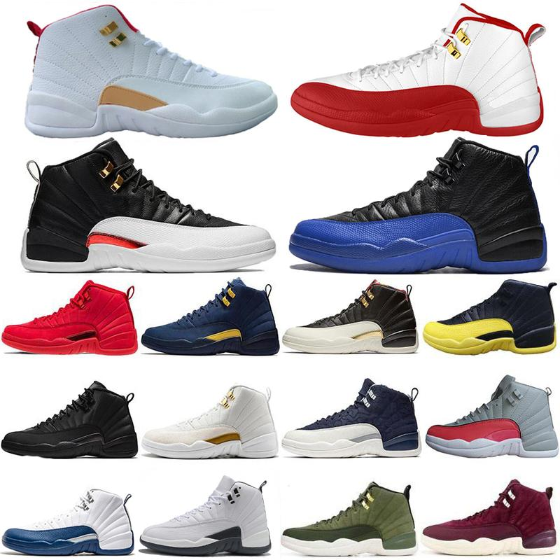 New Style 12s White FIBA CNY Playoff Men Basketball Shoes 12 Game Royal French Blue Cherry Dark Grey Sneakers US 7-13