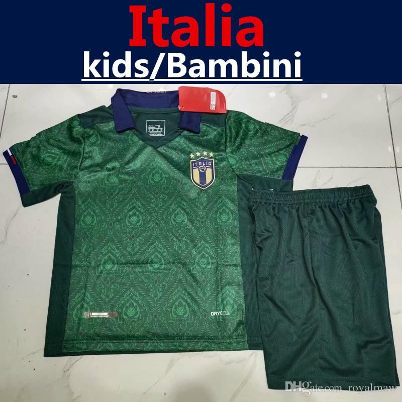 Nouveau 2019 Italie Enfants Kit Green Away Football Uniforme 19 20 Vêtements pour enfants Garçon Fille jeunesse Italia bambino Maglia Jersey Jorginho BELOTTI INSIGNE