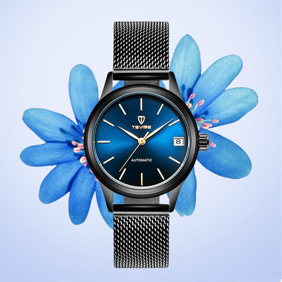 2018 TEVISE mujeres de los relojes mecánicos automáticos del reloj de pulsera de señoras vestido inoxidable resistente al agua relojes de pulsera para la Mujer Montre Femme MX200320