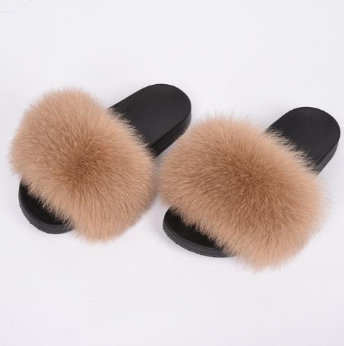Heiße Art Mehrfarbenfarbabstimmung flockige bequeme flache Pantoffel tragen draußen oder nach Hause Fauxpelz Der Fuchspelz