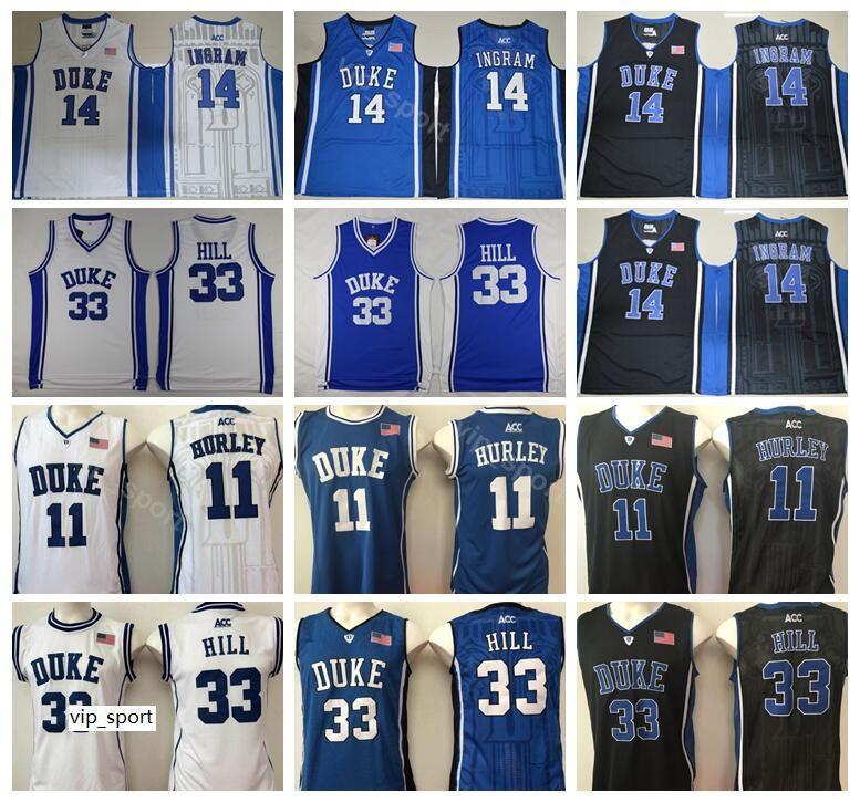 Duke Blue Devils College Бобби Херли Джерси 11 Мужчины Баскетбол Грант Хилл 33 Брэндон Ингрэм Джерси 14 Черный В гостях Белый Цвет команды Синий