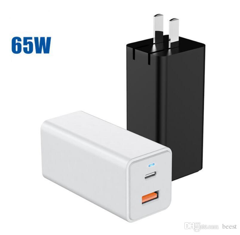 미국 플러그의 GaN 빠른 충전기 65W 빠른 충전 3.0 USB C PD 충전기 3 개 USB 포트 휴대용 충전기
