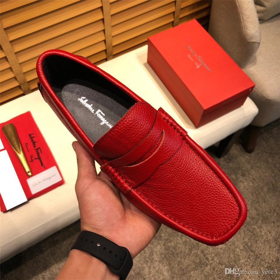 YETC3 zapatos de novia vestido 20ss parte inferior del rojo de los holgazanes Degra Hombres Zapatillas Spooky plano de cuero genuino de los zapatos ocasionales de los hombres de terciopelo de Borgoña