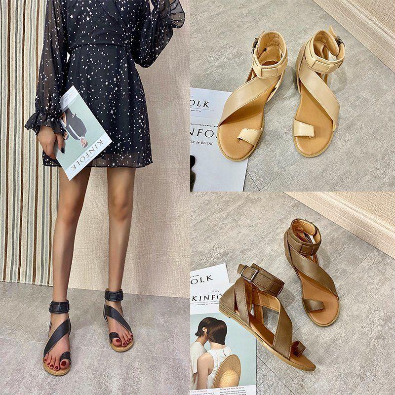 verão 2020 novos de couro confortáveis sandálias planas de uma linha sandálias fivela de moda sapatos de praia das mulheres das mulheres ocasionais