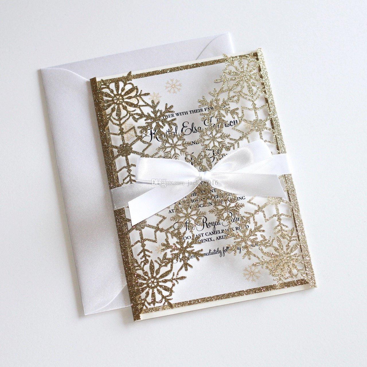 Invitación de boda del brillo del invierno, invitación del corte del láser de copo de nieve, la elegante boda invita la invitaciones de boda glittery oro con lazo