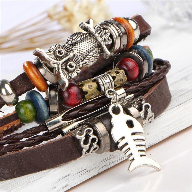 150pcs Antique Silver Horus Evil Eye Owl Bracelet Strands Multilayer Wrap Leather Bracelet Wristband Bangle Cuffs Jewelry for Women Y2626
