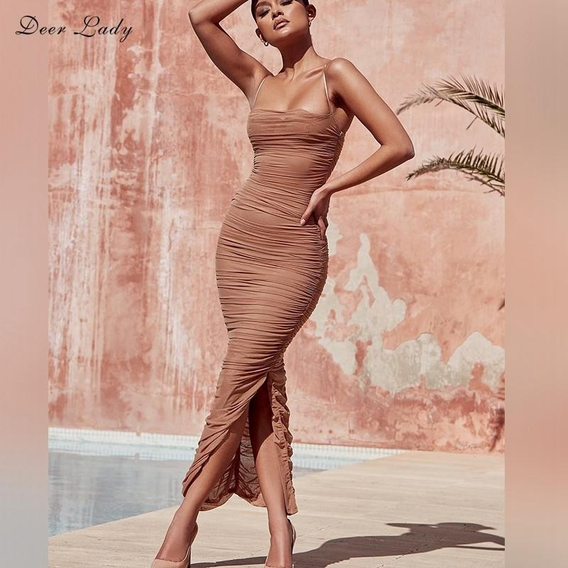 Deer Lady 2019 Summer Dress Women Long Club Elegant Bodycon Maxi Dress Slit Strap Sexy Mesh Organza Dress Brown For Party Night S322