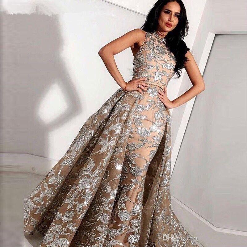 Champagne paillettes Appliques sirena di Overskirt Abiti da sera Yousef Aljasmi Dubai arabo alto collo Plus Size Occasione Party Dress Prom