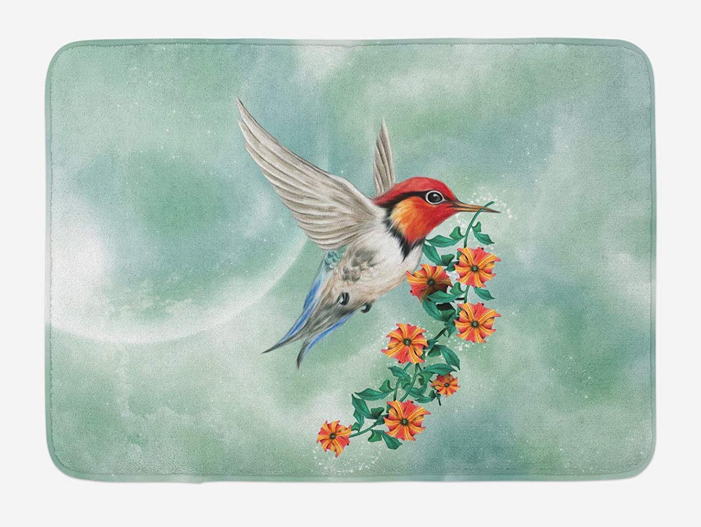 Hummingbird Doormat Hummingbird 꽃이 만발한 지점으로 날고있다 꽃 자연 일러스트레이션 홈 인테리어 도어 바닥 매트 매트