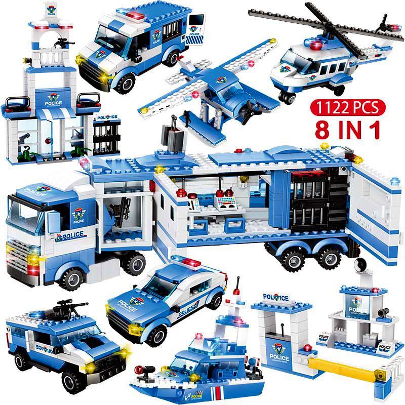 1122pcs 8IN1 SWAT İl Emniyet Kamyon Araba Yapı Taşları Erkek Çocuk CX200706 için Uyumlu İl Polis Merkezi Tuğlalar Oyuncaklar